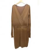 Maison Margiela 4(メゾンマルジェラ4)の古着「シルク混長袖カシュクールブラウスワンピース」|ブラウン