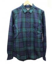 COMME des GARCONS HommePlus(コムデギャルソンオムプリュス)の古着「ワンポイントポケットシャツ」|グリーン×ネイビー