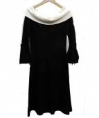 STRAWBERRY FIELDS(ストロベリーフィールズ)の古着「レーヨン・ナイロンニットワンピース」 ブラック×ホワイト