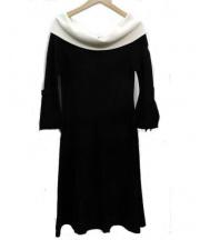 STRAWBERRY FIELDS(ストロベリーフィールズ)の古着「レーヨン・ナイロンニットワンピース」|ブラック×ホワイト