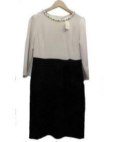 STRAWBERRY FIELDS(ストロベリーフィールズ)の古着「装飾付長袖ブラウスワンピース」 ベージュ×ブラック