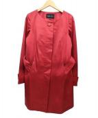 INDIVI(インディビ)の古着「ベルト付ノーカラーコート」|レッド