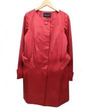 INDIVI(インディビ)の古着「ベルト付ノーカラーコート」 レッド