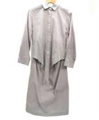 23区(ニジュウサンク)の古着「ドッキング長袖シャツワンピース」|ネイビー