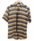 DRIES VAN NOTEN(ドリスヴァンノッテン)の古着「半袖シャツ」|ブラウン×ネイビー