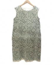 mina perhonen(ミナペルフォネン)の古着「logワンピース」|ベージュ×グリーン
