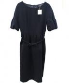 STRAWBERRY FIELDS(ストロベリーフィールズ)の古着「半袖ブラウスワンピース」|ネイビー