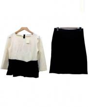 STRAWBERRY FIELDS(ストロベリーフィールズ)の古着「セットアップブラウス」|ホワイト×ブラック