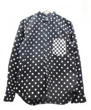 COMME des GARCONS black market(コムデギャルソン ブラックマーケット)の古着「ポケットチェック切替ドットシャツ」 ブラック