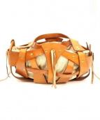 ampersand(アンパサンド)の古着「レザーメッシュハンドバッグ」|ブラウン