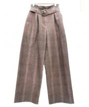 leur logette(ルルロジェッタ)の古着「リネン混タックワイドパンツ」|ブラウン