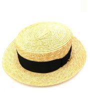 maniera(マニエラ)の古着「カンカン帽」 ベージュ×ブラック