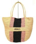 CATARZI(カタルジィ)の古着「ペイントラフィアトートバッグ」|ベージュ
