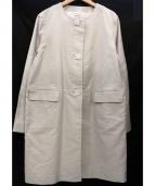HUMAN WOMAN(ヒューマンウーマン)の古着「綿麻ノーカラーコート」 スカイブルー