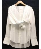 JANE SMITH(ジェーンスミス)の古着「シルク混デザイン長袖ブラウス」|ホワイト