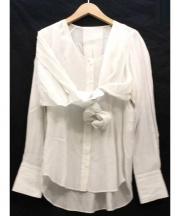 JANE SMITH(ジェーンスミス)の古着「シルク混デザイン長袖ブラウス」 ホワイト