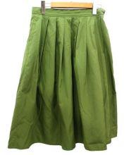 MARGARET HOWELL(マーガレット ハウエル)の古着「膝丈シルクスカート」|グリーン