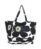marimekko(マリメッコ)の古着「ウニッコ柄トートバッグ」|ブラック×ホワイト