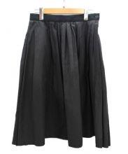 MARGARET HOWELL(マーガレットハウエル)の古着「シルク混コットン膝丈フレアスカート」|グレー