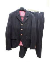 COMME des GARCONS HommePlus(コムデギャルソンオムプリュス)の古着「ストライプセットアップスーツ」|ネイビー×ピンク
