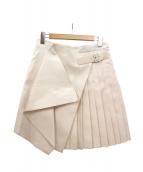Salvatore Ferragamo(サルヴァトーレ フェラガモ)の古着「シツク混プリーツラップスカート」|ホワイト