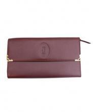 Cartier(カルティエ)の古着「フラップ長財布」|ワインレッド