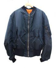 ALPHA(アルファ)の古着「リバーシブルMA-1ジャケット」 ネイビー×オレンジ