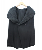 ISSEY MIYAKE(イッセイミヤケ)の古着「ビッグカラープリーツジャケット」 ブラック