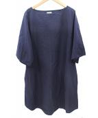 COMOLI(コモリ)の古着「ボートネックワンピース」|ネイビー
