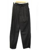 DES PRES(デプレ)の古着「リネンレーヨンストレッチタックテーパードパンツ」|ブラック