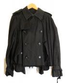 tricot COMME des GARCONS(トリココムデギャルソン)の古着「ショートデザイントレンチコート」|ブラック