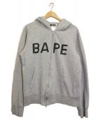 A BATHING APE(ア ベイシング エイプ)の古着「90sBAPEロゴジップパーカー」|グレー