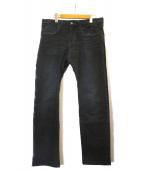 Roen(ロエン)の古着「スカル刺繍デニムパンツ」 ブラック