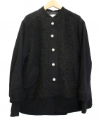MUVEIL Work(ミュベールワーク)の古着「ループニットドッキングジャケット」 ブラック
