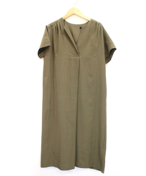 MICHEL KLEIN(ミッシェルクラン)MICHEL KLEIN (ミシェルクラン) ノースリーブワンピース カーキ サイズ:38の古着・服飾アイテム