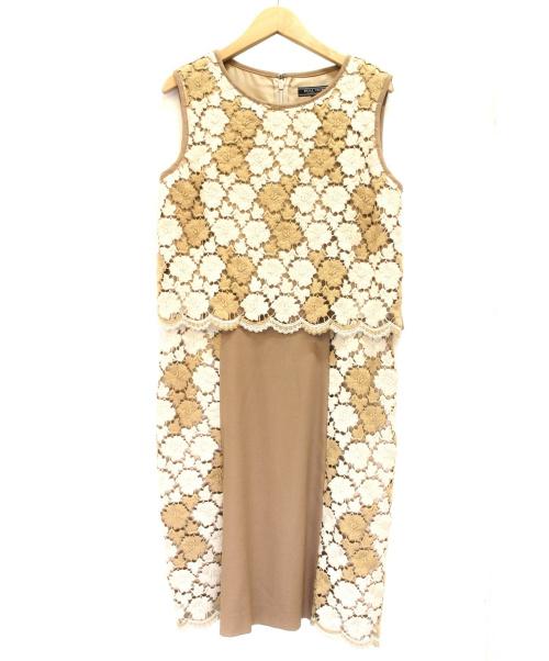 DUAL VIEW(デュアル ヴュー)DUAL VIEW (デュアルビュ) レースノースリーブワンピース ベージュホワイト サイズ:42 未使用品の古着・服飾アイテム