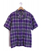 ()の古着「チェックオープンカラーシャツ」|パープル×グレー