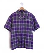PLEASURES(プレジャーズ)の古着「チェックオープンカラーシャツ」 パープル×グレー