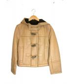 PLAIN PEOPLE(プレインピープル)の古着「ラムレザーフーデッドジャケット」|ベージュ