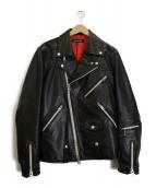 JACKROSE(ジャックローズ)の古着「ゴートレザーライダースジャケット」|ブラック