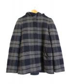 KUMIKYOKU(クミキョク)の古着「ライトビーバーメルトンチェックショートコート」|ネイビー