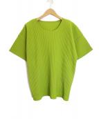 HOMME PLISSE ISSEY MIYAKE(オム プリッセ イッセイ ミヤケ)の古着「プリーツTシャツ」 ライトグリーン
