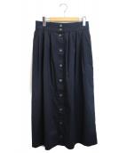FRAMeWORK(フレームワーク)の古着「タックギャザーミドルスカート」|ネイビー