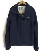 Dulcamara(ドゥルカマラ)の古着「ヘリンボーンハイネックショートコート」|ブルー