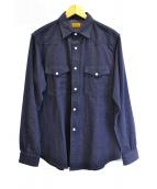 BROWN by 2-tacs(ブラウン バイ ツータックス)の古着「シルク混ウエスタンシャツ」|ネイビー