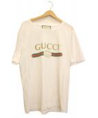 GUCCI(グッチ)の古着「ロゴウォッシュドオーバーサイズTシャツ」|ホワイト