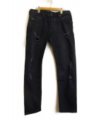 DIESEL(ディーゼル)の古着「ダメージデニムパンツ」|インディゴ