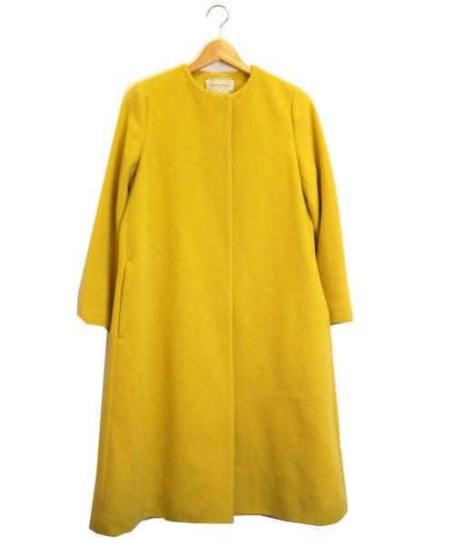 UNITED ARROWS(ユナイテッドアローズ)UNITED ARROWS (ユナイテッドアローズ) ノーカラーベルラインコート イエロー サイズ:SIZE 34 定価¥49.000+税の古着・服飾アイテム