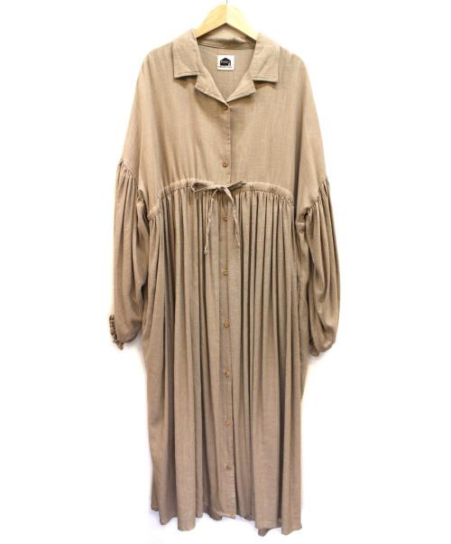 Fafatt(ファファット)Fafatt (ファファット) ギャザーシャツフレアワンピース ベージュ サイズ:下記参照の古着・服飾アイテム