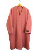 Mila Owen(ミラオーウェン)の古着「ノーカラーミドル丈コート」|ピンク